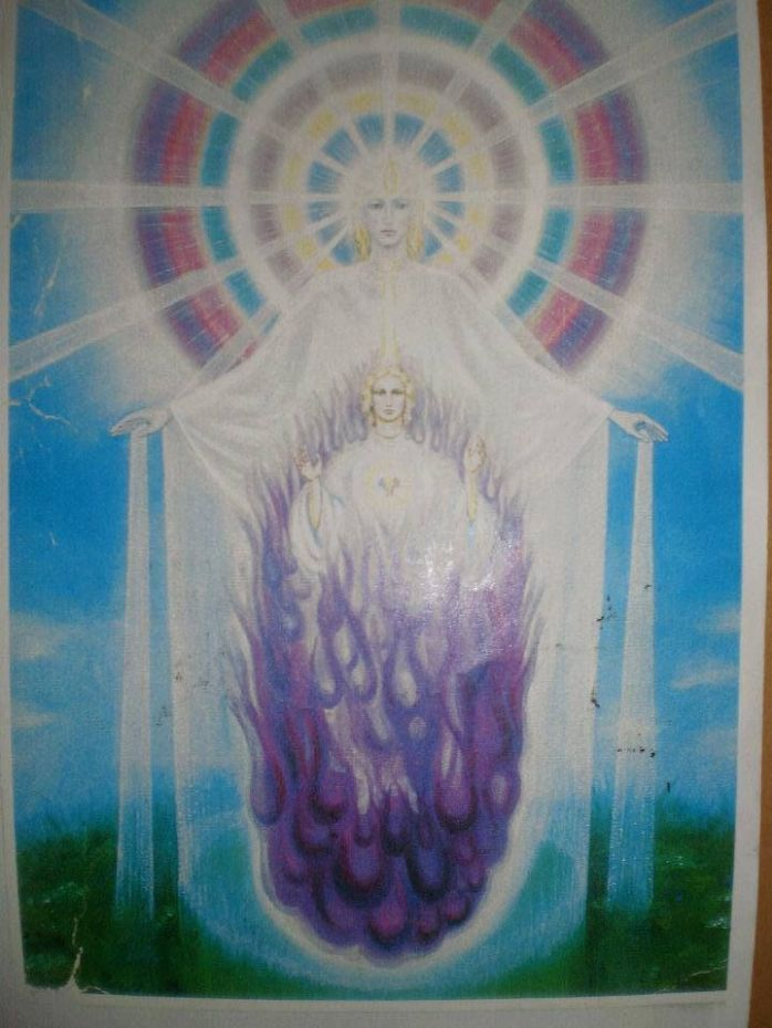 The Ascension tube of light through the Holy Spirit, the freedom flame, mercy flame, forgiveness flame, resurrection flame, liberty flame transmutation flames within the violet sacred fire flame be so, call on and just be.